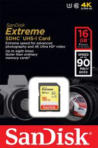 SanDisk Extreme SDHC 16GB 90 MB/s class 10 U3